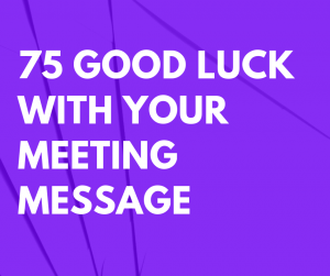 75 Good Luck with Your Meeting Message